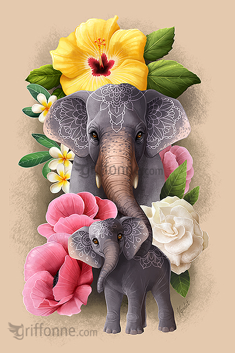 Elephant mother with young and tropical flowers. Mère éléphant et petit avec des fleurs tropicales.