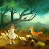 Illustration of a young girl and a fox. Illustration d'une jeune enfant et d'un renard.,