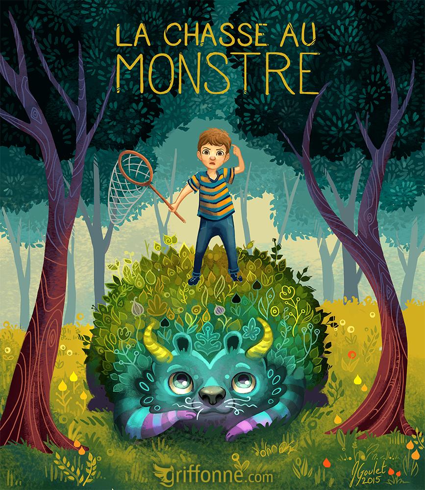 La chasse au monstre children book cover illustration. Illustration de couverture de livre pour enfant La Chasse au Monstre