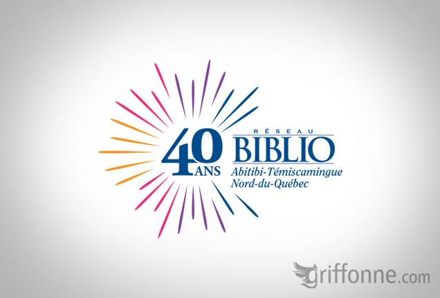 Logo design for a public librairies network celebrating their 40th anniversary. Logo soulignant le 40e anniverssaire du Réseau Biblio, un réseau de bibiothèques publiques.
