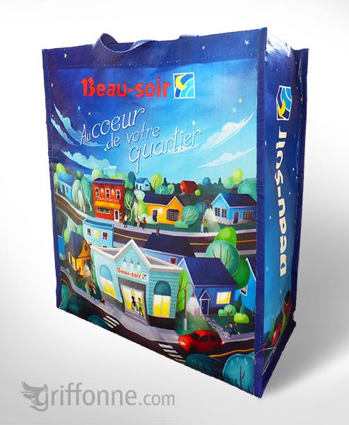 Surface design of reusable grocery bag for Beau Soir convenience store. Design de surface pour sac réutilisable pour les dépanneurs Beau Soir.