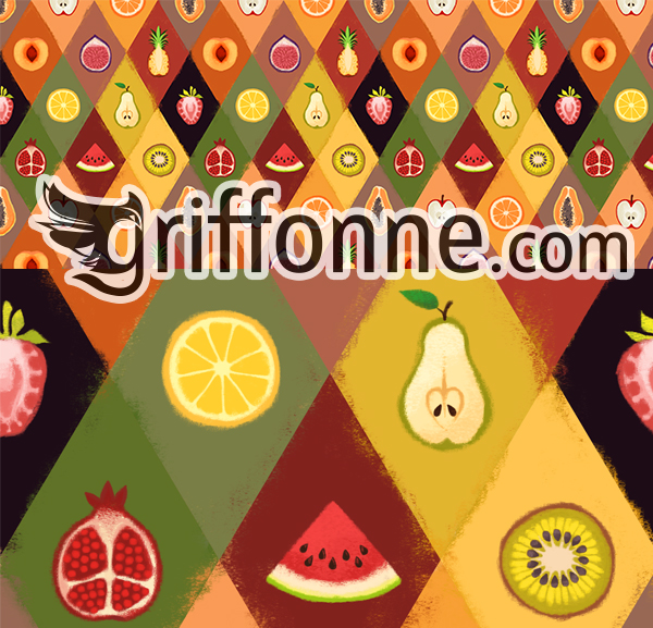 Seamless pattern of fruits. Motif de fruits.