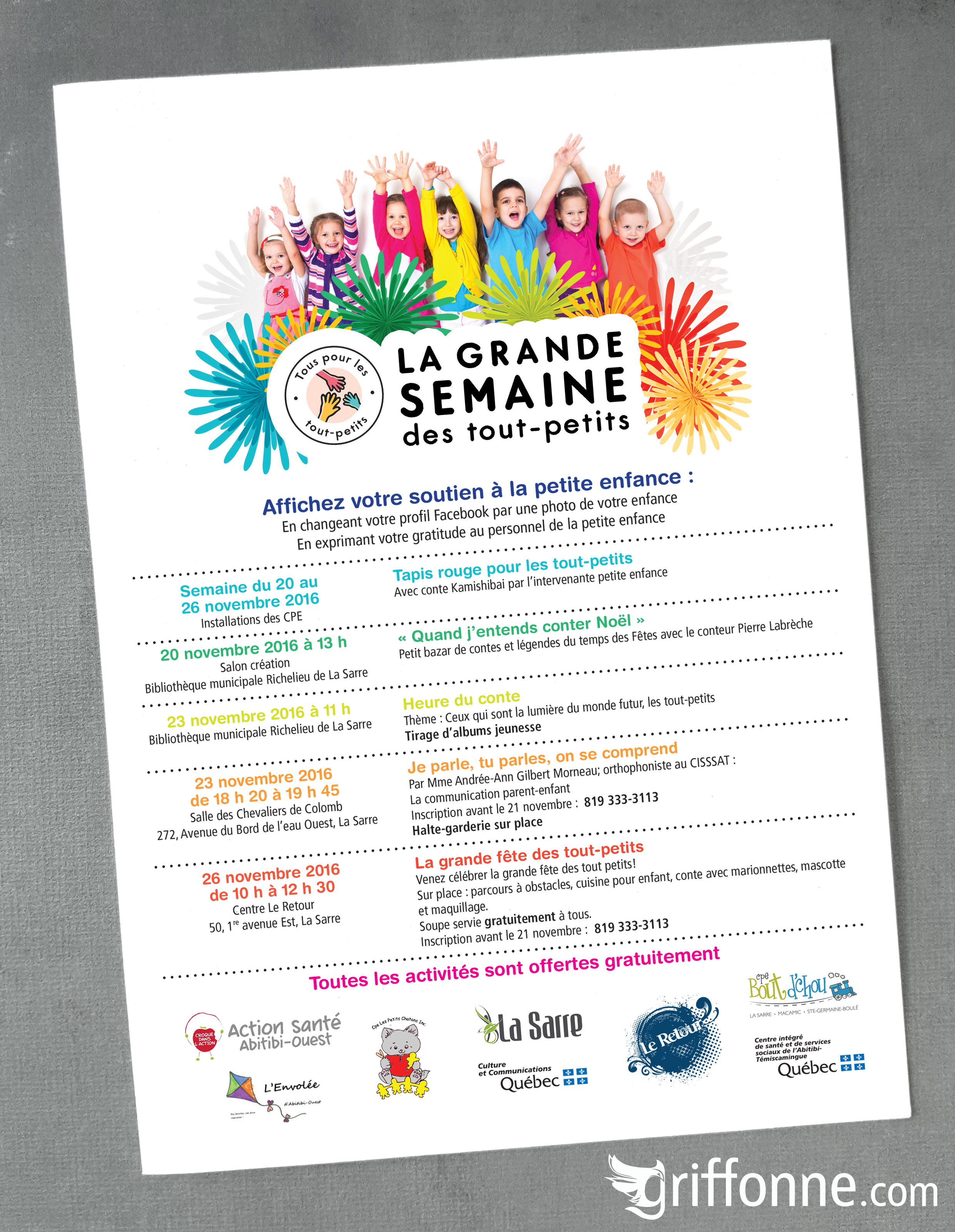 Poster designfor a familly oriented event. Design d'affiche pour un événement orienté vers les jeunes familles.