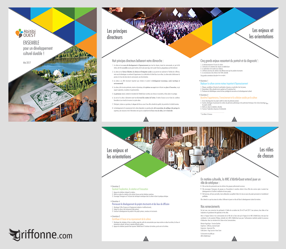 Cultural development booklet design. Design de brochure pour le développement culturel.
